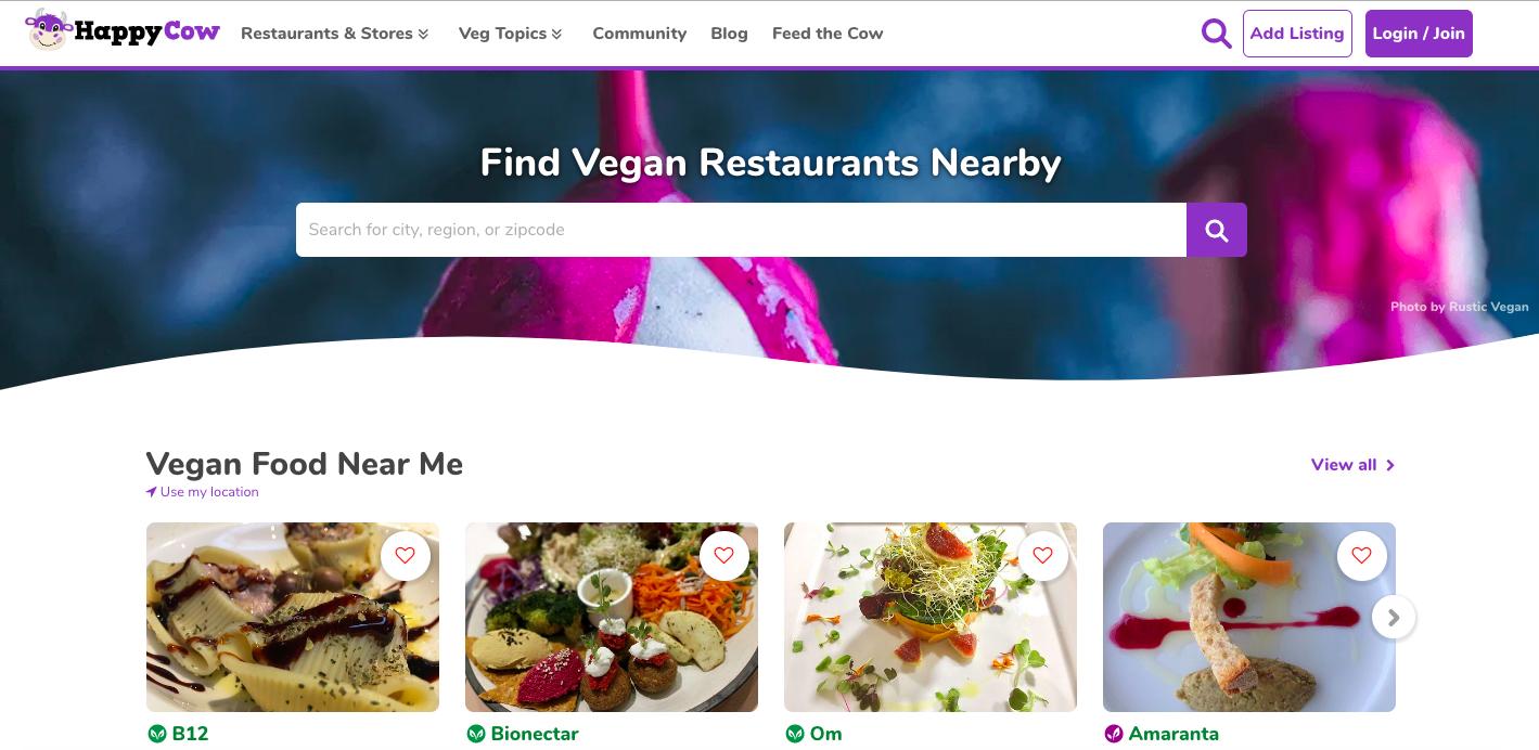 Happy Cow, aplicación que muestra restaurantes veganos y vegetarianos, ofrece recetas veggies, información, artículos,...