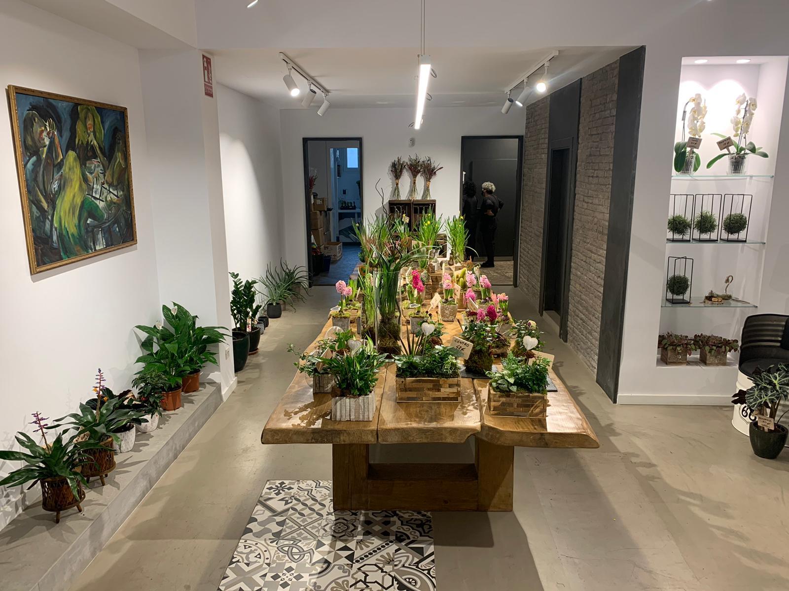 Interior de la tienda, con la mesa donde realizarán talleres