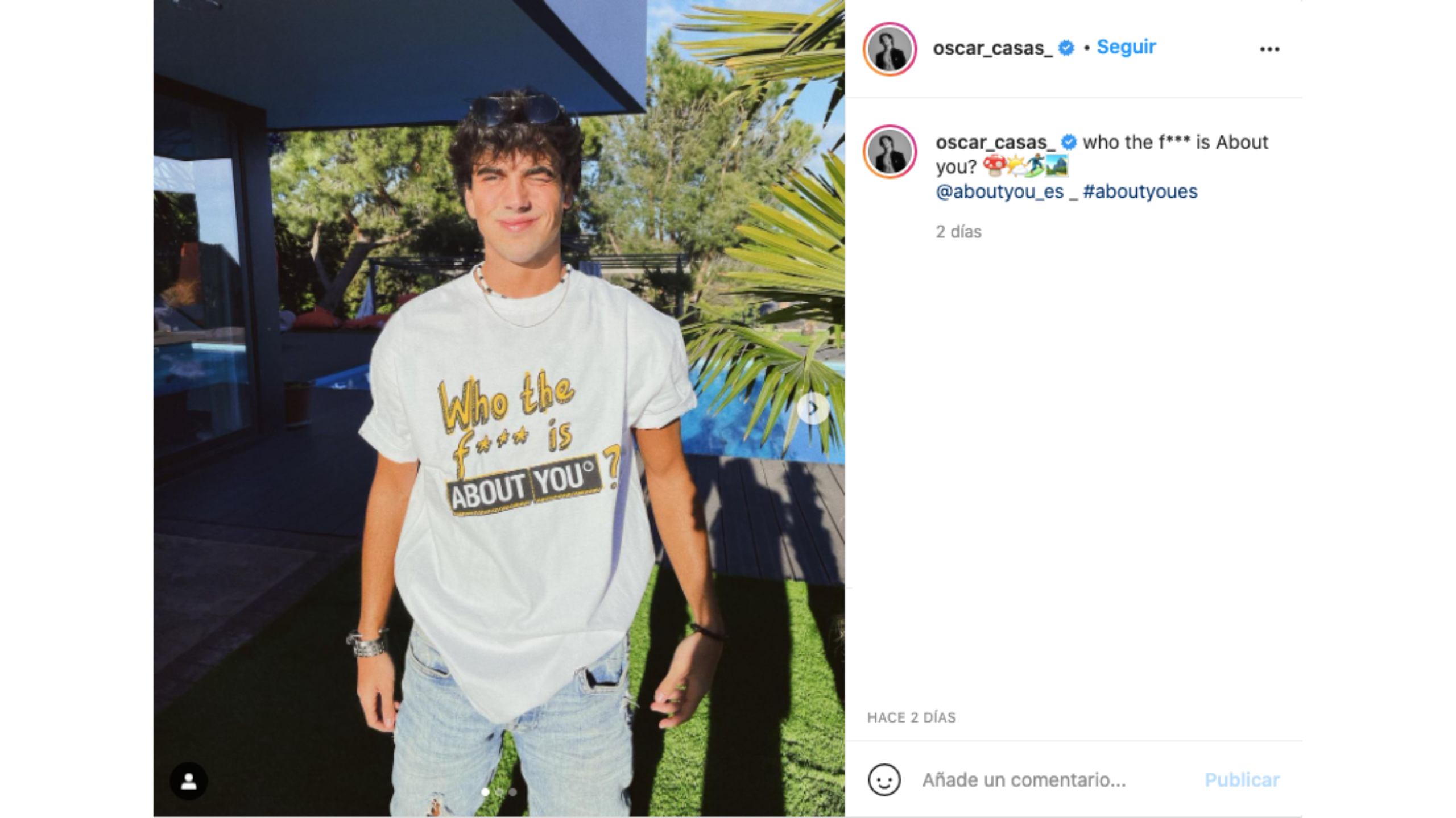 Óscar Casas, influencer que ha formado parte de la gran campaña en redes de About You